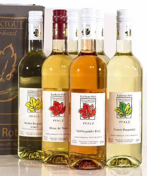 Eine Auswahl an Weiß- und Roseweinen.