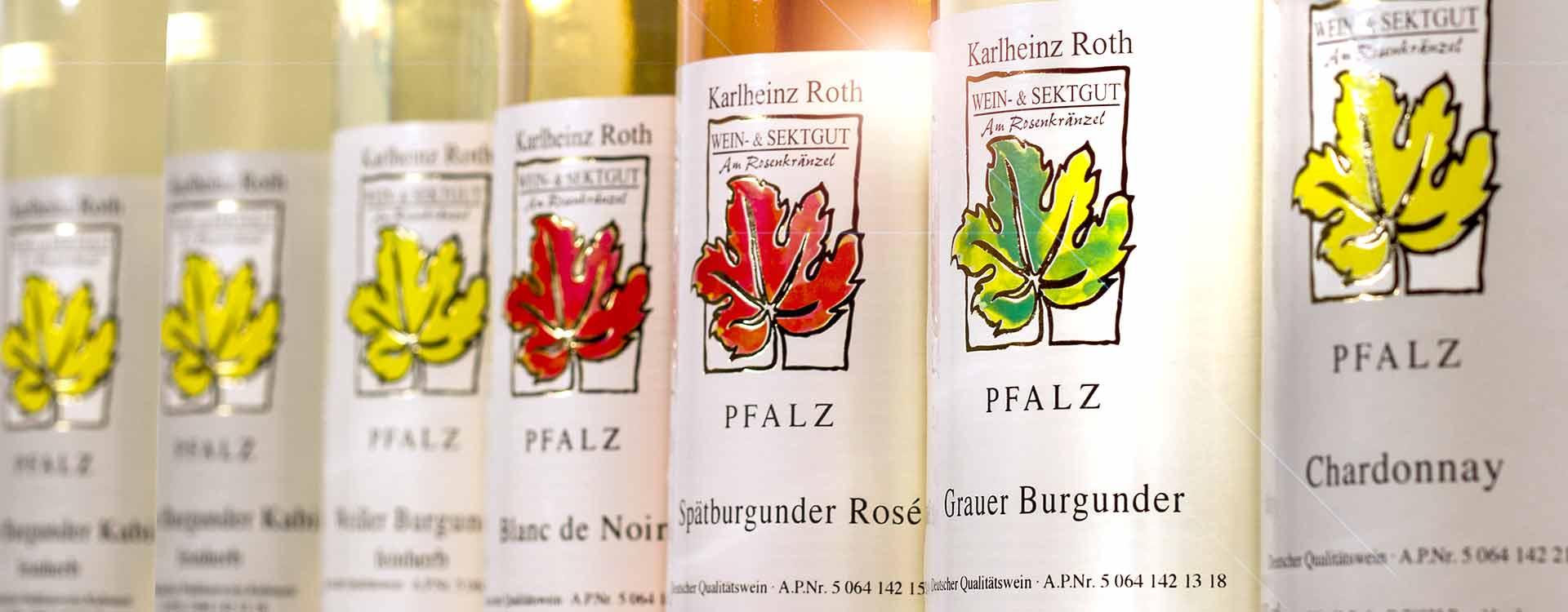 Acht Weinsorten vom Weingut Roth.